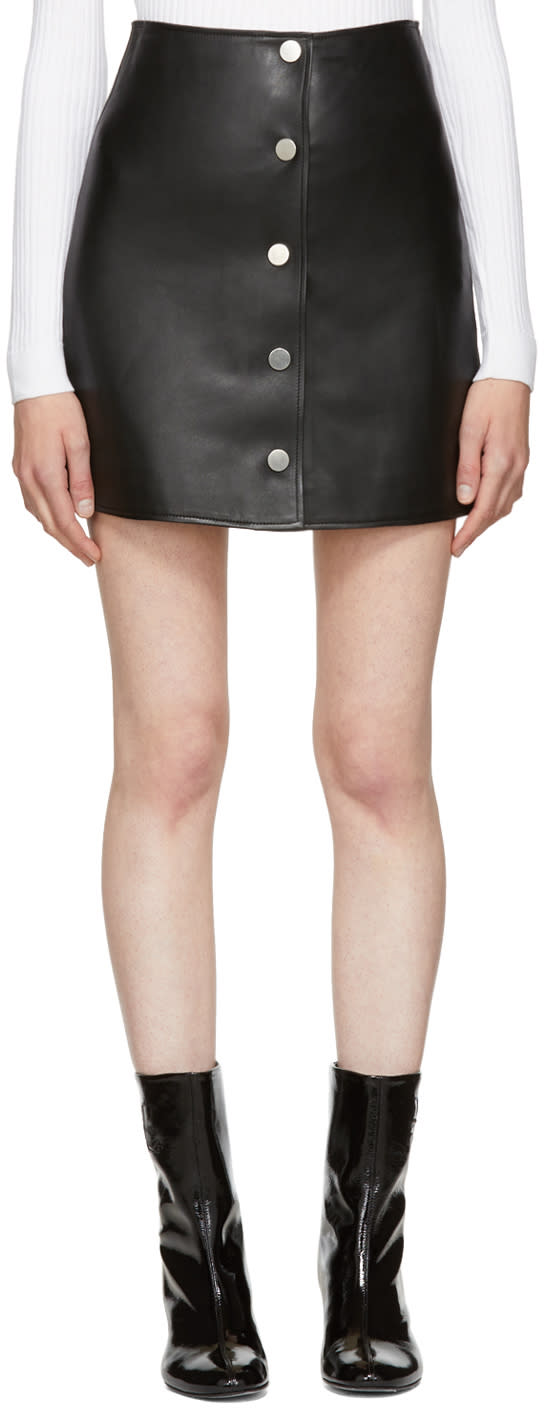 Image of Courrèges Black Leather Button Miniskirt
