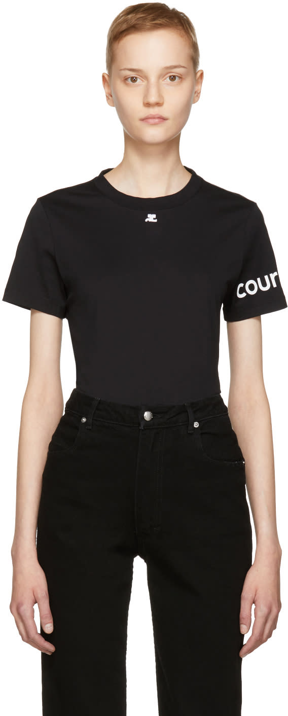 Image of Courrèges Black Logo Sleeve T-shirt