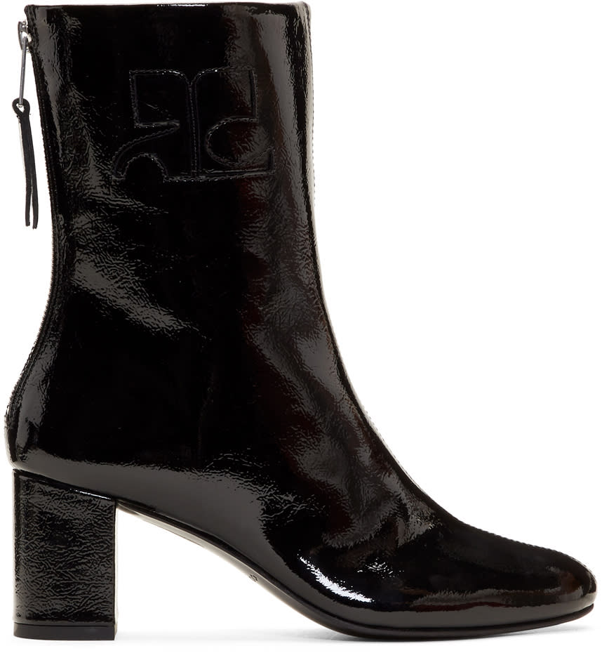 Courreges Black Vinyl Leather Logo Boots