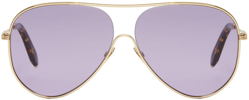 Image of Victoria Beckham Blue and Gold Loop Aviator Sunglasses