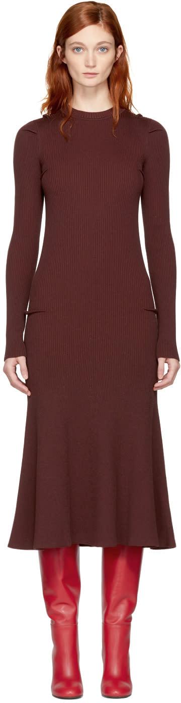 Image of Victoria Beckham Burgundy Wool Rib Dress