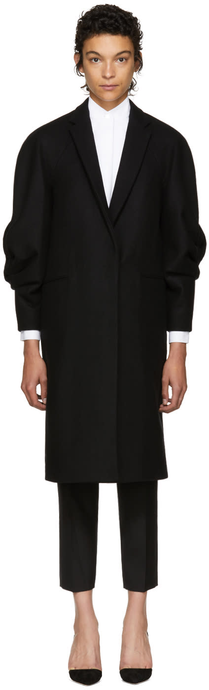 Image of Victoria Beckham Black Wool Raglan Coat