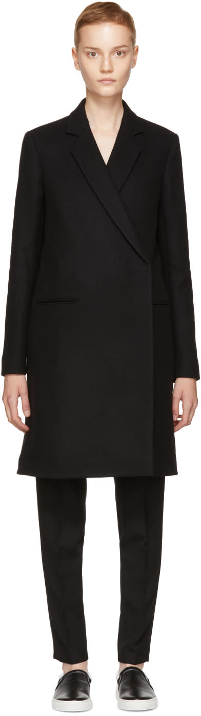 Image of Victoria Beckham Black Wool Tailored Coat