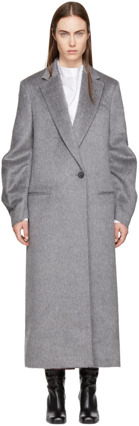 Victoria Beckham Grey Twist Sleeve Coat