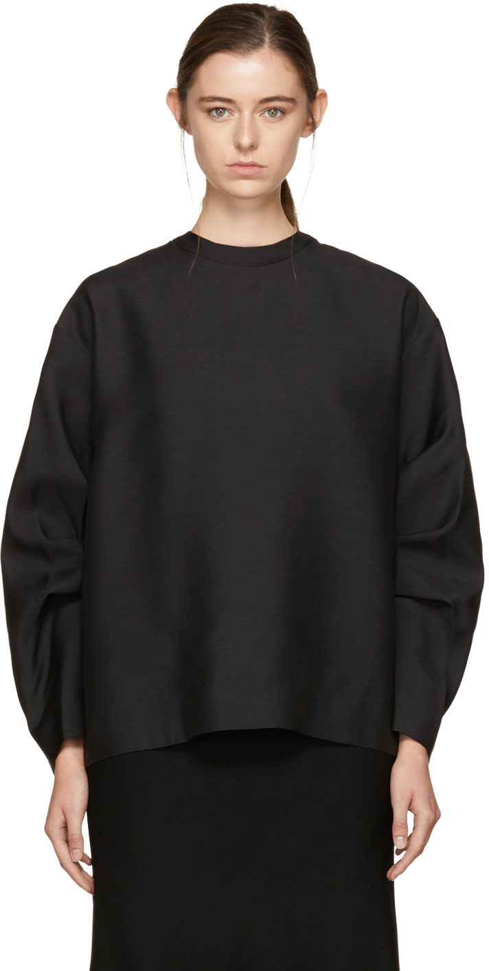 Image of Victoria Beckham Black Sleeve Pleat Blouse