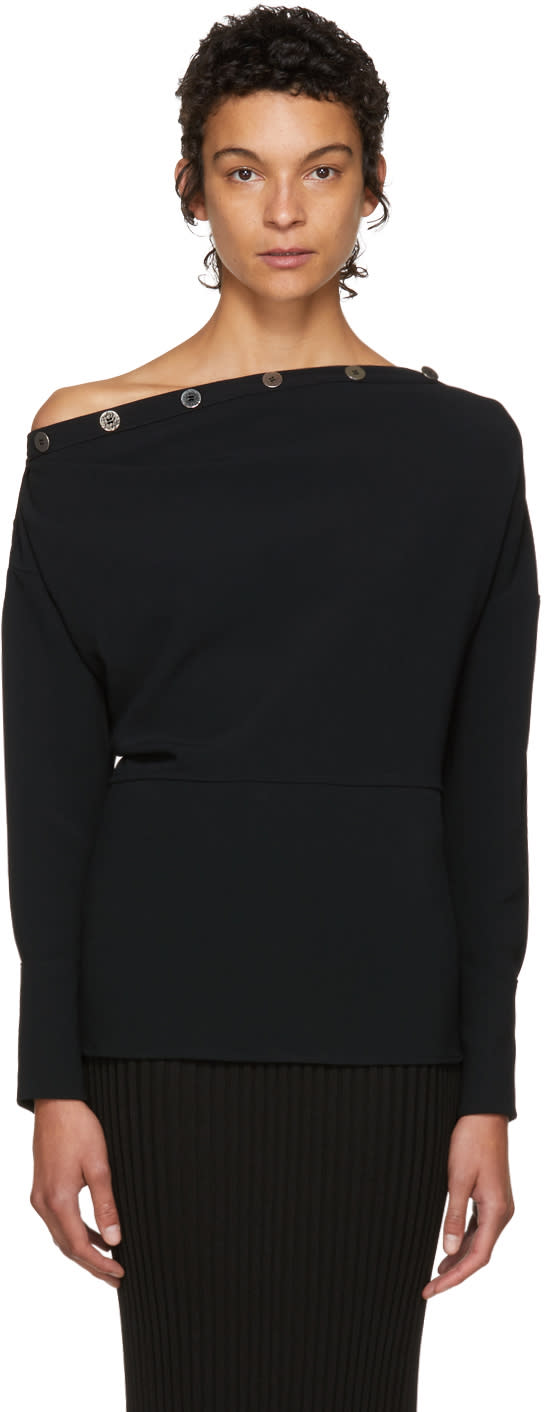 Image of Victoria Beckham Black Button Neck Blouse