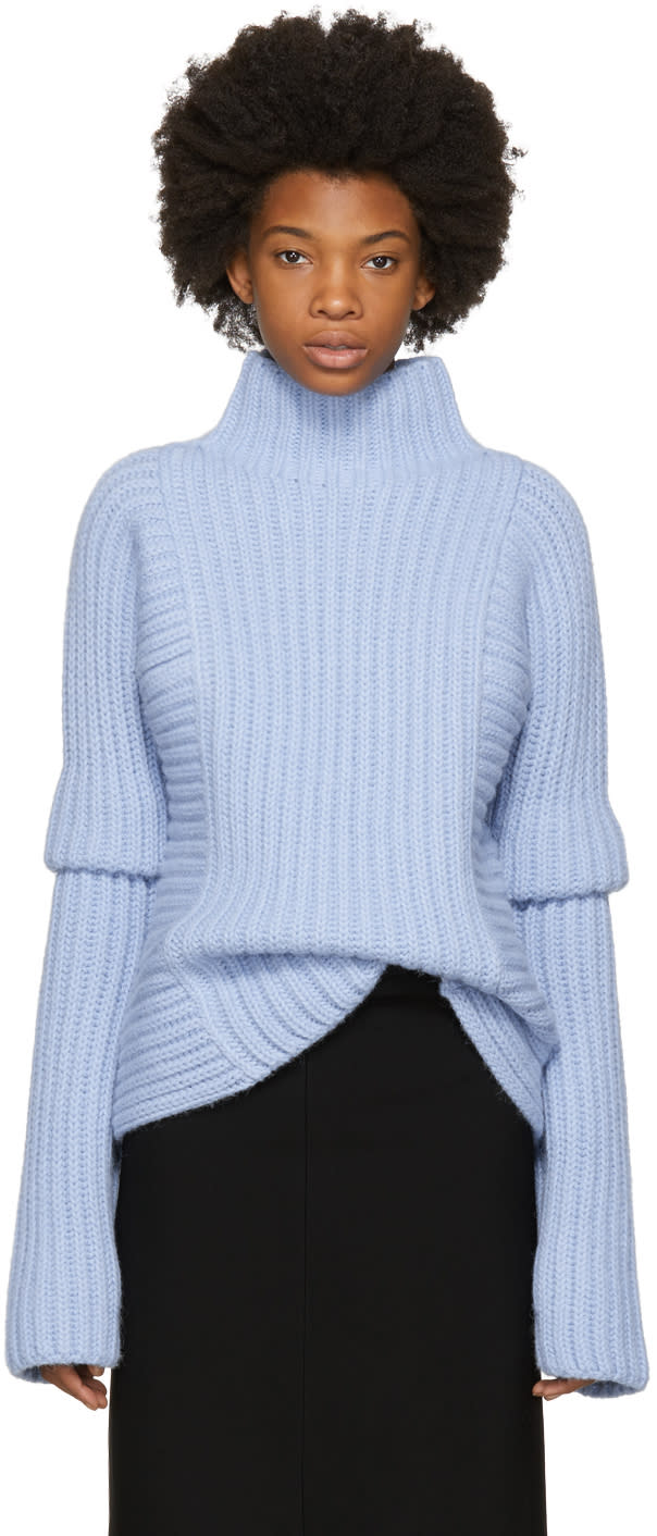 Image of Victoria Beckham Blue Folded Sleeve Turtleneck