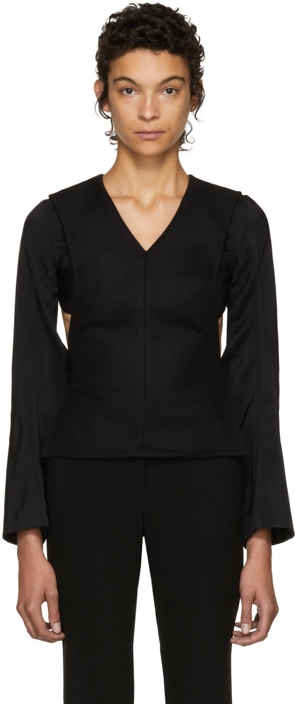 Image of Victoria Beckham Black Open Back Blouse