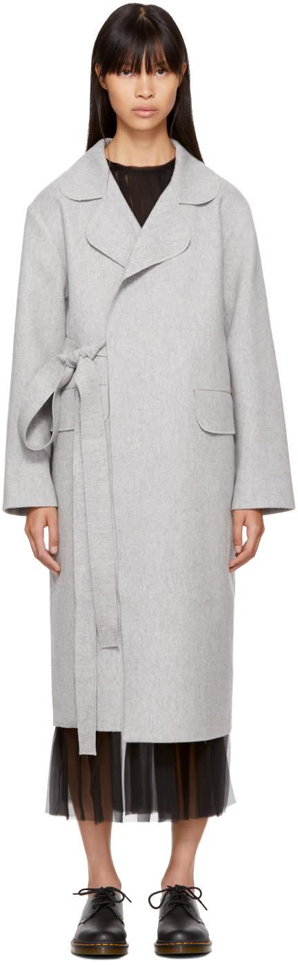 Image of Sara Lanzi Grey Wool Wide Coat