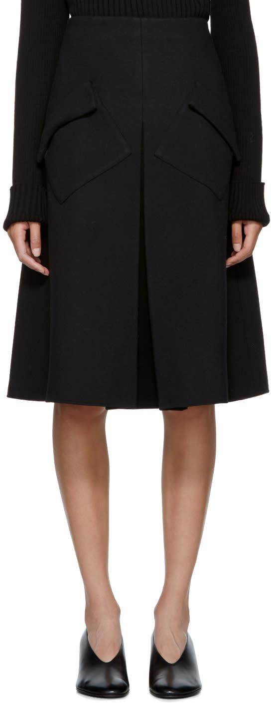 Image of Sara Lanzi Black Wool Pleated Midi Skirt