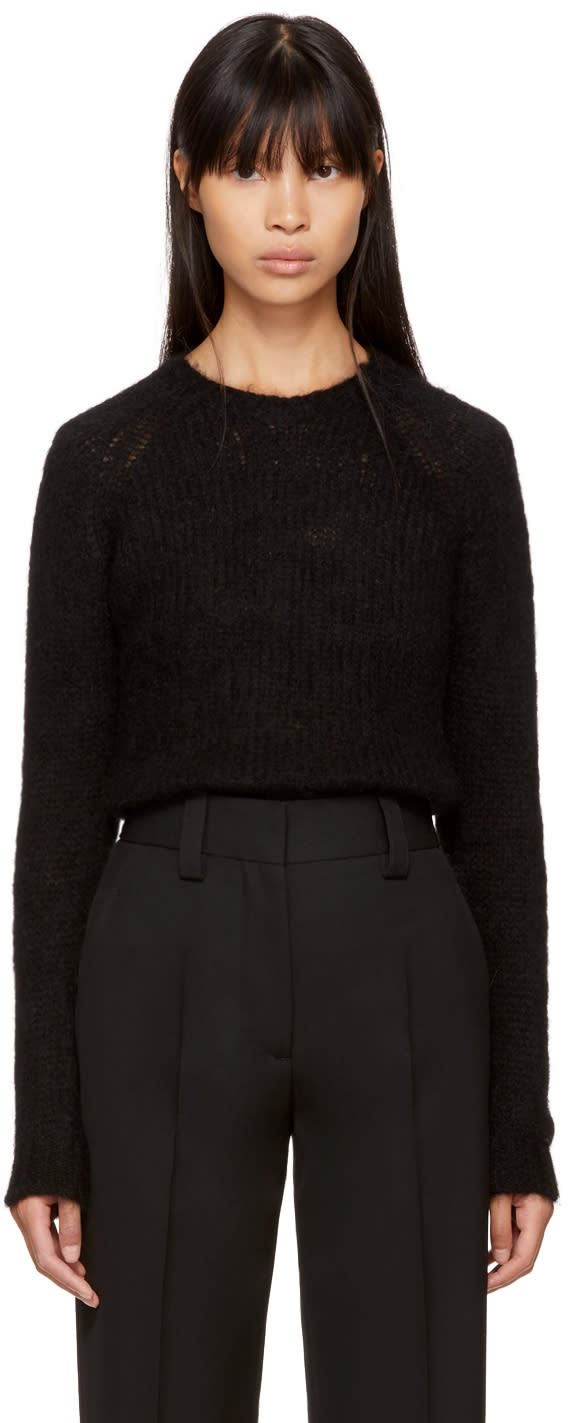 Image of Sara Lanzi Black Micro Alpaca Sweater