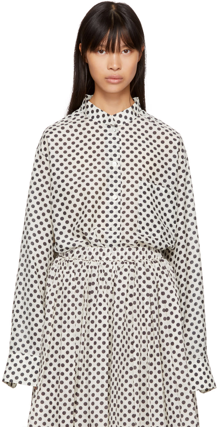 Image of Sara Lanzi Off-white Oversize Polka Dot Shirt