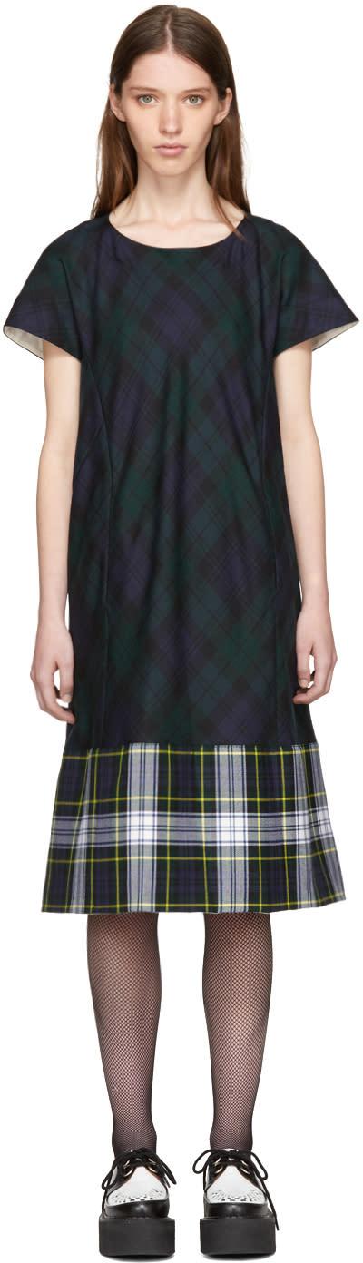 Image of Tricot Comme Des Garçons Green and Navy Tartan Check Dress
