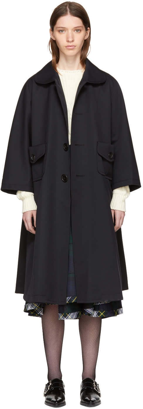 Image of Tricot Comme Des Garçons Black and Plaid Wool Gabardine Coat