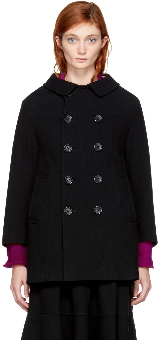 Image of Tricot Comme Des Garçons Black Double-breasted Coat