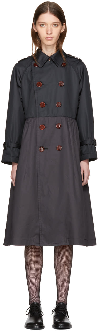 Image of Tricot Comme Des Garçons Black Taffeta Double-breasted Trench Coat