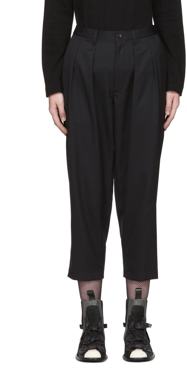 Image of Tricot Comme Des Garçons Black Front Pleated Trousers