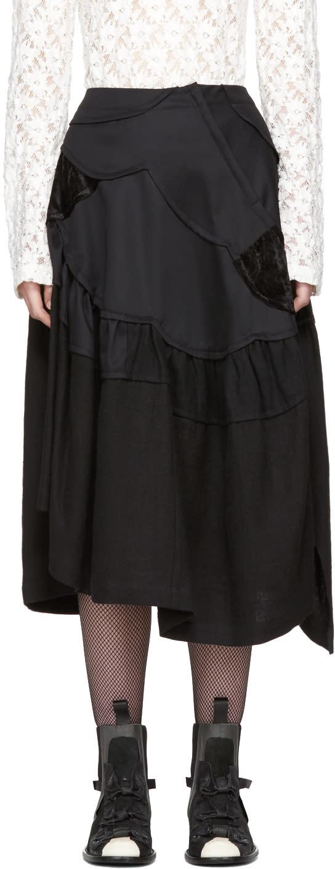 Image of Tricot Comme Des Garçons Black Multi Fabric Skirt