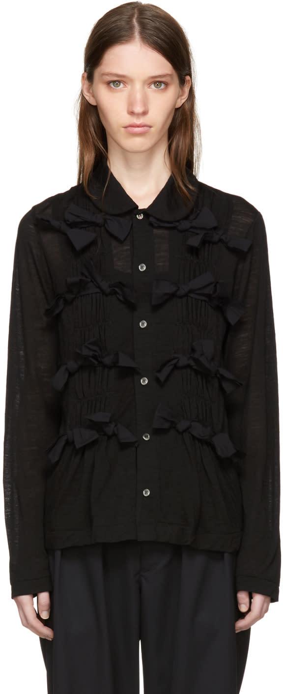 Image of Tricot Comme Des Garçons Black Front Ties Shirt
