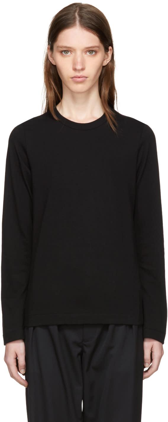 Image of Tricot Comme Des Garçons Black Long Sleeve Wool T-shirt