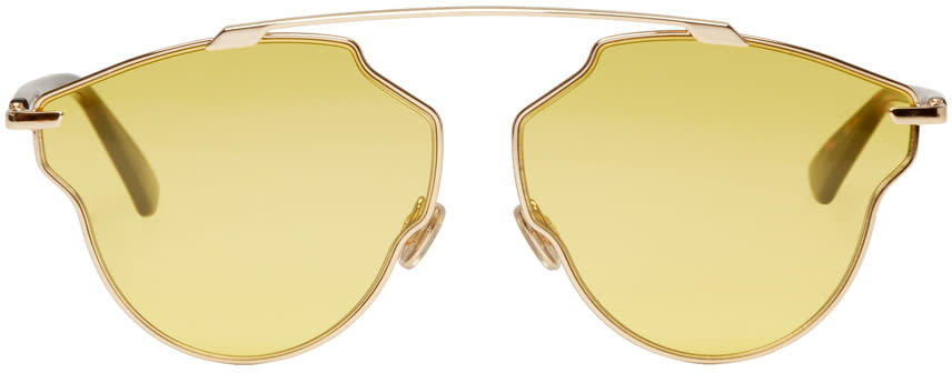 Image of Dior Rose Gold and Yellow So Real Pop Sunglasses