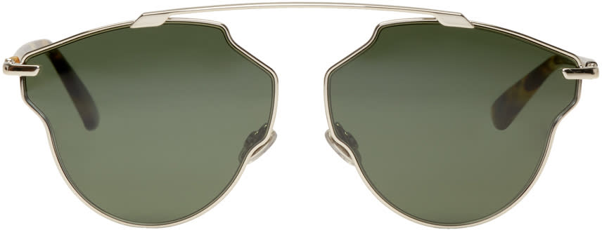 Image of Dior Silver and Green So Real Pop Sunglasses