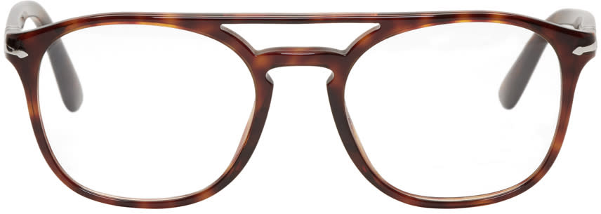 Image of Persol Tortoiseshell Top Bar Glasses