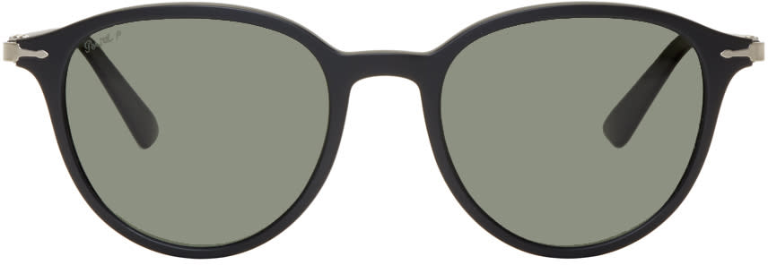 Image of Persol Black Round Sunglasses