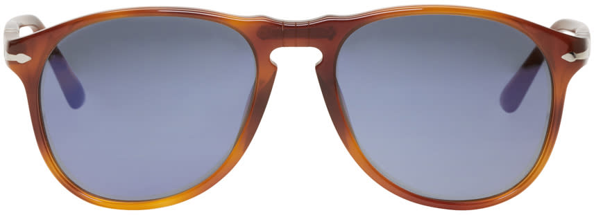 Image of Persol Tortoiseshell Square Aviator Sunglasses