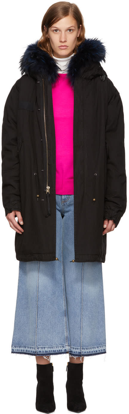 Image of Mr and Mrs Italy Black and Blue Fur Long Parka