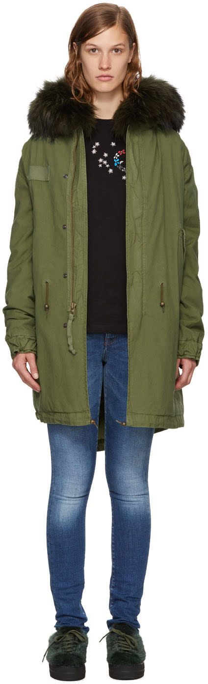 Mr and Mrs Italy Green Fur Long Parka
