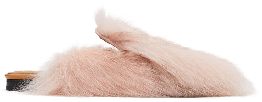 Pink Fur Patch Mules