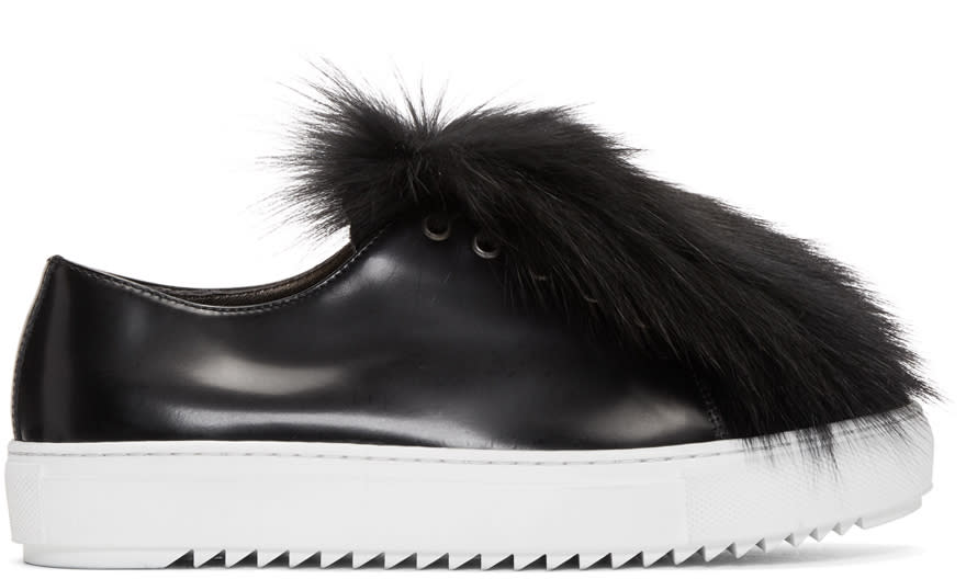 Image of Mr and Mrs Italy Black Fur Sneakers