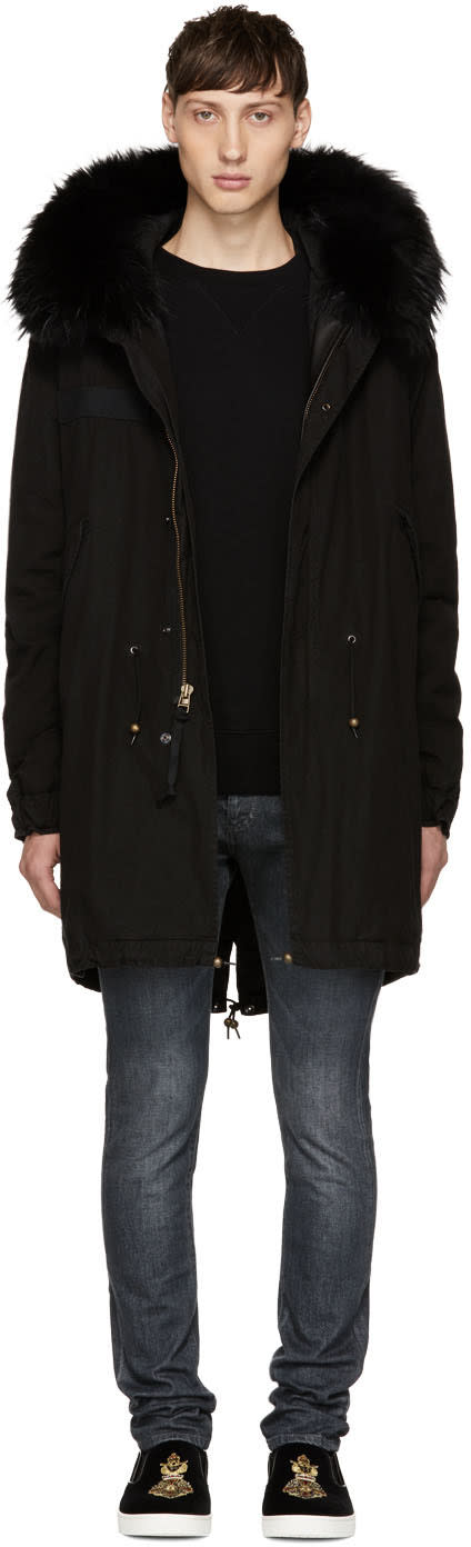 Image of Mr and Mrs Italy Black Fur Long Parka