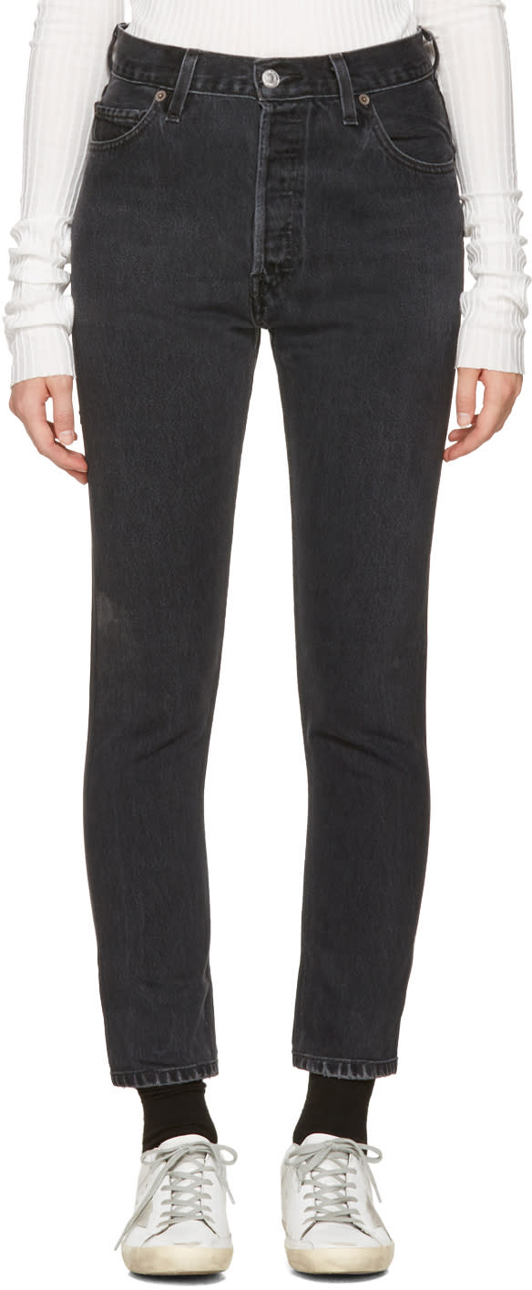Image of Re-done Black High-rise Ankle Crop Jeans