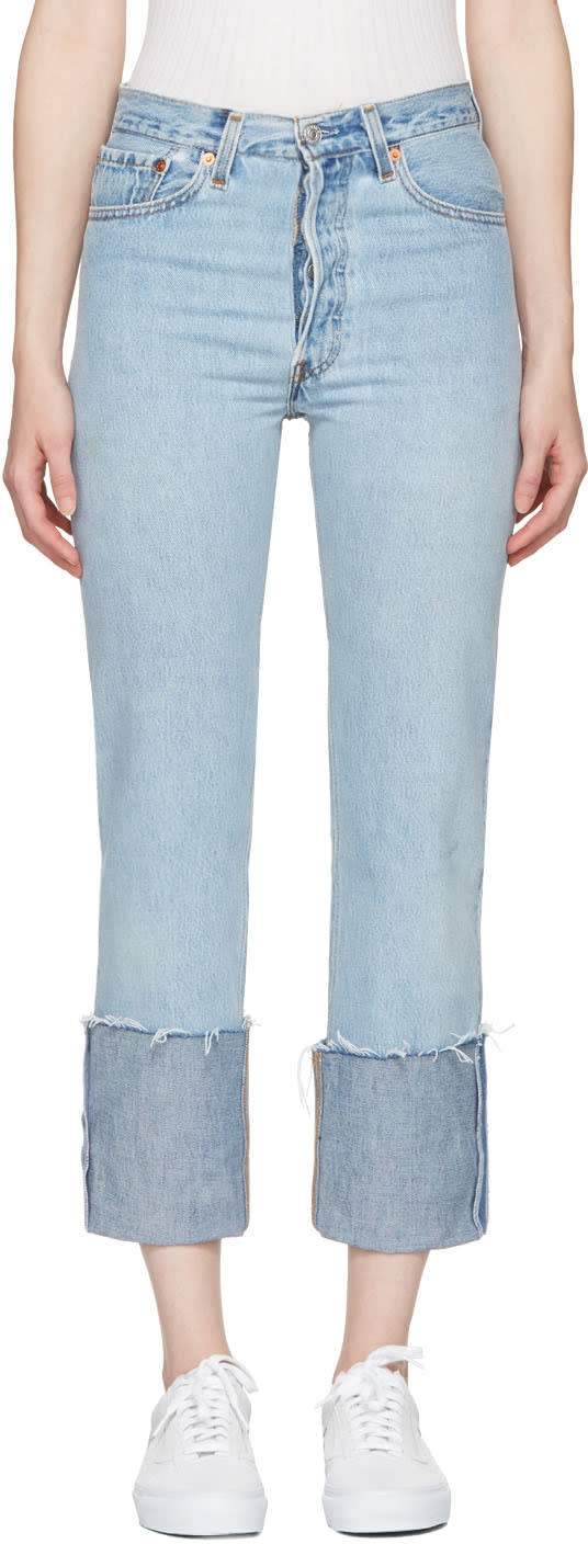 Re-done Blue High-rise Straight Cuffed Jeans