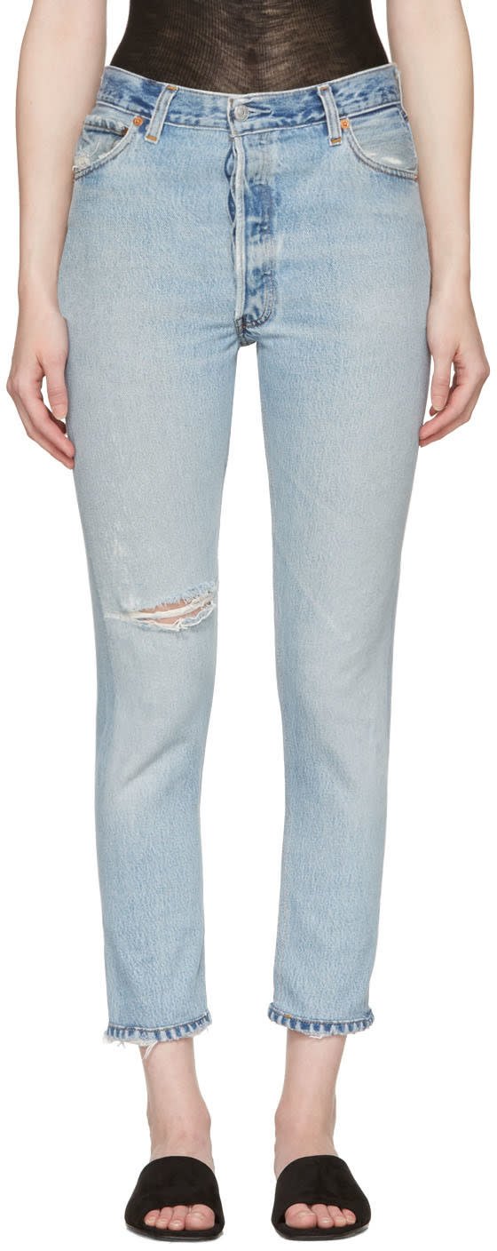 Re-done Blue High-rise Ankle Crop Destruction Jeans