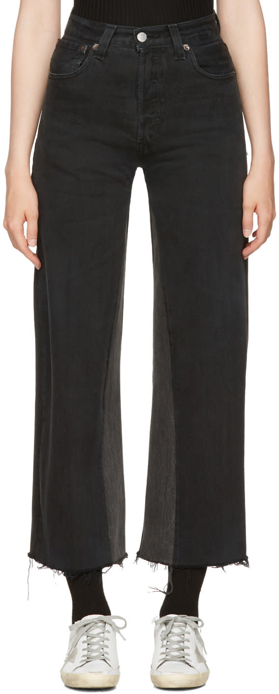 Image of Re-done Black High-rise Wide-leg Crop Jeans