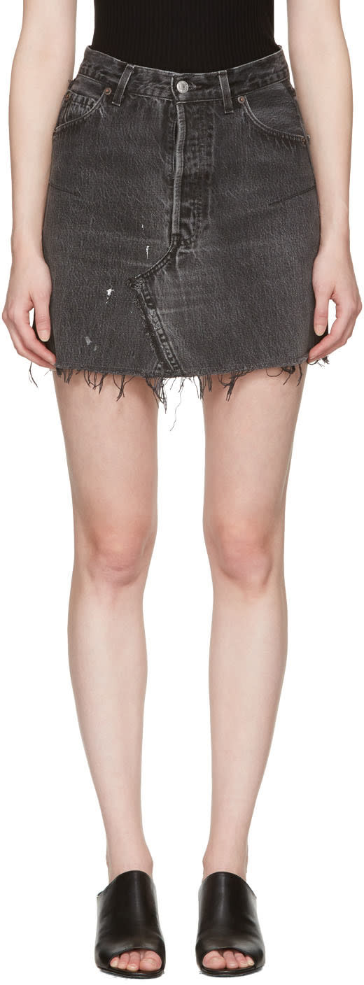 Image of Re-done Black Denim High-rise Miniskirt