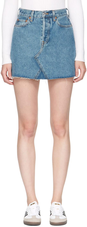 Re-done Blue Originals Denim High-rise Rigid Miniskirt
