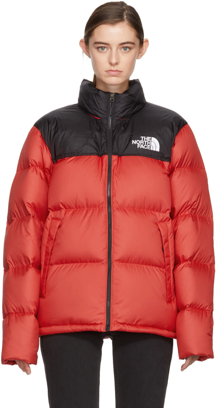 Image of The North Face Red and Black Down Novelty Nuptse Jacket