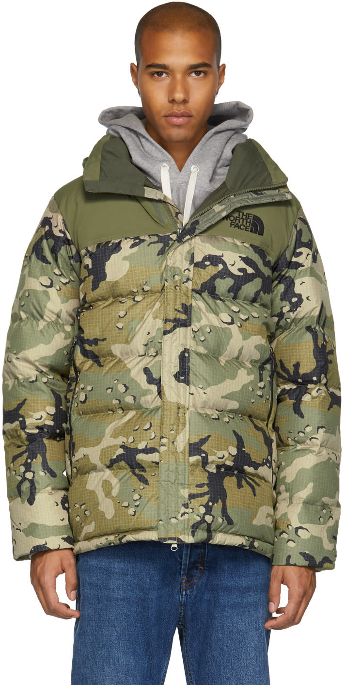 Image of The North Face Green Camo Down Nuptse Ridge Parka