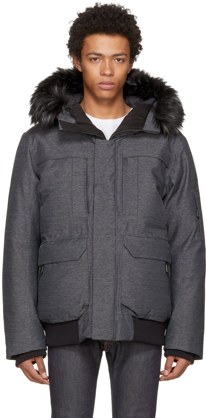 Image of The North Face Grey Down Cryos Gtx Expedition Bomber Jacket