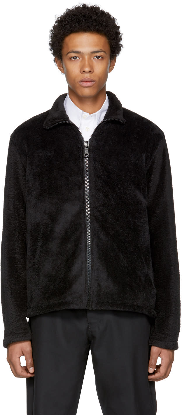 Image of Our Legacy Black Fleece Zip-up Sweater