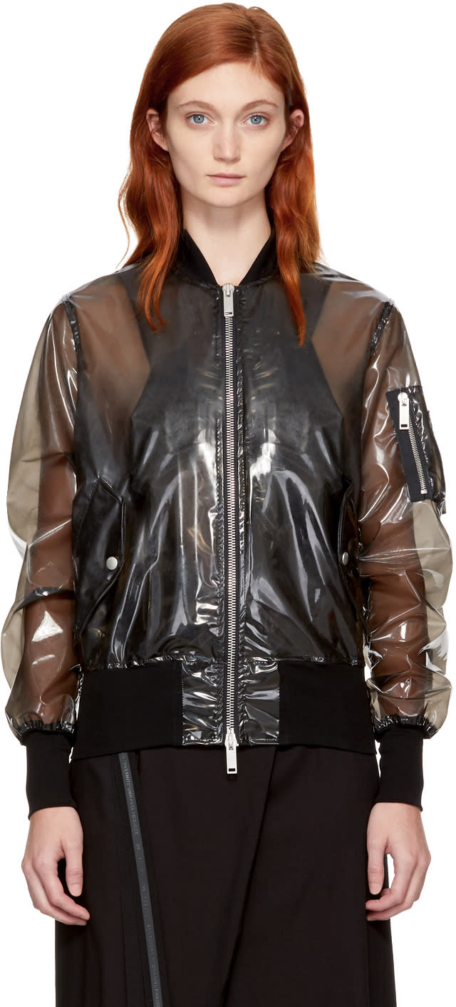 Image of Unravel Black Pvc Bomber Jacket