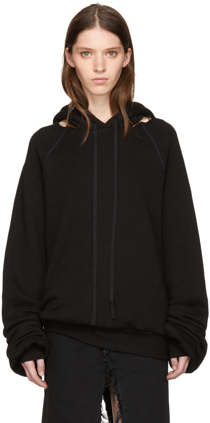 Image of Unravel Black Cotton and Cashmere Cut-out Hoodie