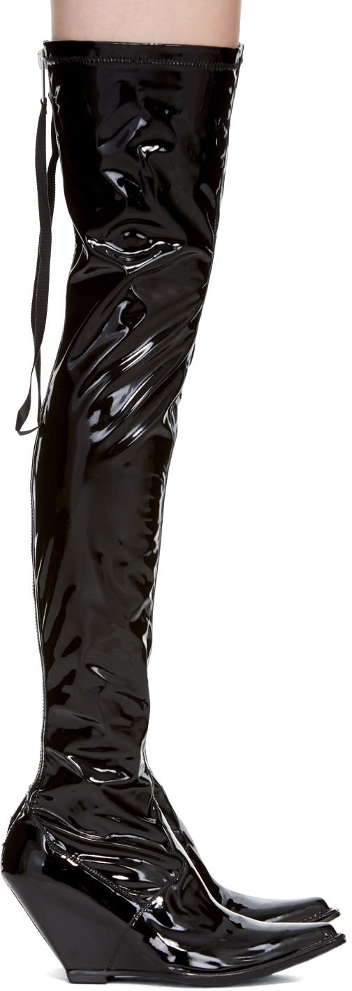Image of Unravel Black Latex Zip Over-the-knee Boot