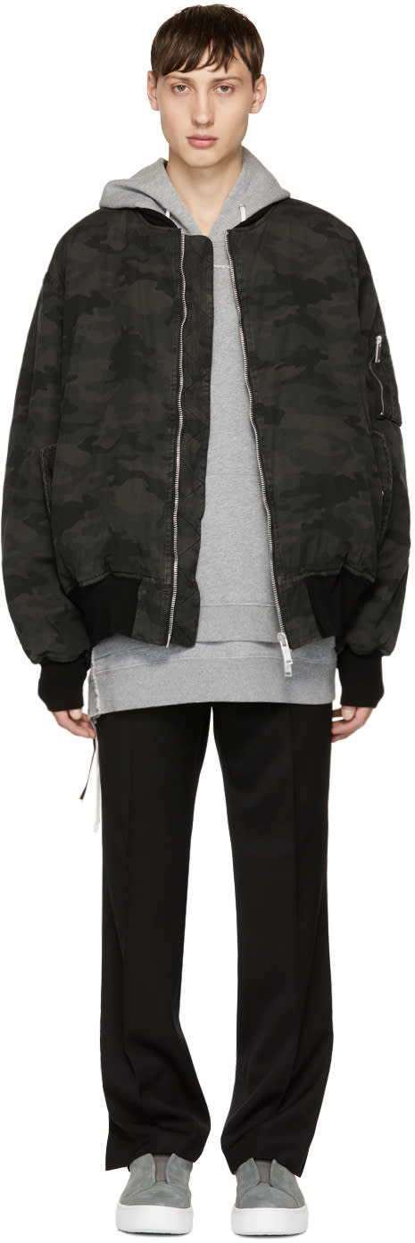 Image of Unravel Green Camouflage Ripstop Bomber Jacket