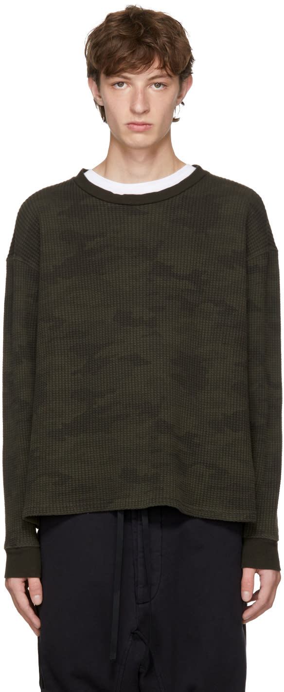 Image of Unravel Green Long Sleeve Camo Waffle Skate T-shirt