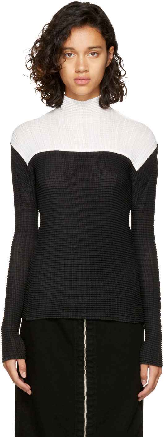 Image of Issey Miyake Black and White Wooly Wave Turtleneck